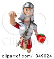 Clipart Of A 3d Young Male Roman Legionary Soldier Holding A Tomato And Flying Royalty Free Illustration