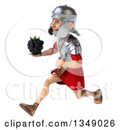 Clipart Of A 3d Young Male Roman Legionary Soldier Holding A Blackberry And Sprinting To The Left Royalty Free Illustration