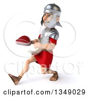 Clipart Of A 3d Young Male Roman Legionary Soldier Holding A Beef Steak And Speed Walking To The Left Royalty Free Illustration