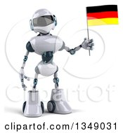 Clipart Of A 3d White And Blue Robot Holding A German Flag Royalty Free Illustration by Julos