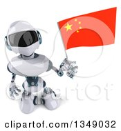 Clipart Of A 3d White And Blue Robot Holding Up A Chinese Flag Royalty Free Illustration