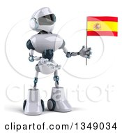 Clipart Of A 3d White And Blue Robot Presenting And Holding A Spanish Flag Royalty Free Illustration