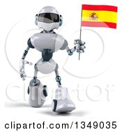 Clipart Of A 3d White And Blue Robot Walking And Holding A Spanish Flag Royalty Free Illustration