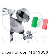 Clipart Of A 3d White And Blue Robot Holding An Italian Flag Around A Sign Royalty Free Illustration by Julos