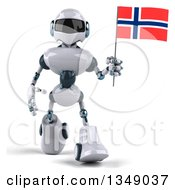 Clipart Of A 3d White And Blue Robot Walking And Holding A Norway Flag Royalty Free Illustration by Julos