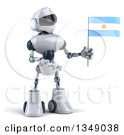 Clipart Of A 3d White And Blue Robot Presenting And Holding An Argentine Flag Royalty Free Illustration by Julos