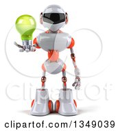 Clipart Of A 3d White And Orange Robot Holding A Green Light Bulb Royalty Free Illustration