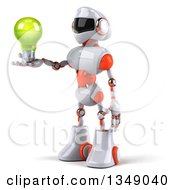 Clipart Of A 3d White And Orange Robot Facing Left And Holding A Green Light Bulb Royalty Free Illustration