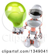 Clipart Of A 3d White And Orange Robot Holding Up A Green Light Bulb Royalty Free Illustration