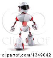 Clipart Of A 3d White And Orange Robot Walking Royalty Free Illustration