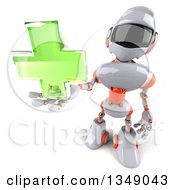 Clipart Of A 3d White And Orange Robot Holding Up A Green Cross Royalty Free Illustration