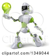 Clipart Of A 3d White And Green Robot Facing Left And Holding A Light Bulb Royalty Free Illustration