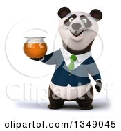 Clipart Of A 3d Happy Business Panda In A Green Tie Holding A Honey Jar Royalty Free Illustration