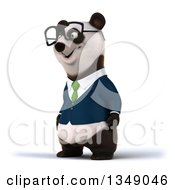 Clipart Of A 3d Happy Bespectacled Business Panda In A Green Tie Facing Left Royalty Free Illustration