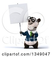 Clipart Of A 3d Happy Bespectacled Business Panda In A Green Tie Holding Up And Pointing To A Blank Sign Royalty Free Illustration