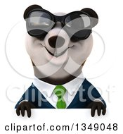 Clipart Of A 3d Happy Business Panda In A Green Tie Wearing Sunglasses Over A Sign Royalty Free Illustration