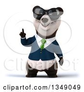 Clipart Of A 3d Happy Business Panda In A Green Tie Wearing Sunglasses And Holding Up A Finger Royalty Free Illustration
