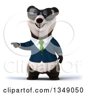Clipart Of A 3d Happy Business Panda In A Green Tie Wearing Sunglasses And Pointing Royalty Free Illustration