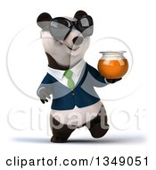 Clipart Of A 3d Happy Business Panda In A Green Tie Wearing Sunglasses Walking And Holding A Honey Jar Royalty Free Illustration