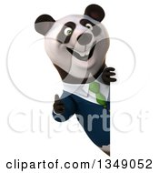 Clipart Of A 3d Happy Business Panda In A Green Tie Giving A Thumb Up Around A Sign Royalty Free Illustration