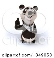 Clipart Of A 3d Happy Business Panda Holding Up A Thumb Royalty Free Illustration
