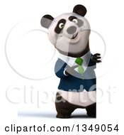 Clipart Of A 3d Full Length Happy Business Panda In A Green Tie Pointing Around A Sign Royalty Free Illustration