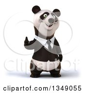 Clipart Of A 3d Happy Business Panda Giving A Thumb Up Royalty Free Illustration