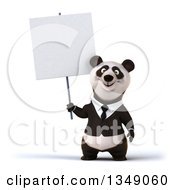Clipart Of A 3d Happy Business Panda Holding A Blank Sign Royalty Free Illustration