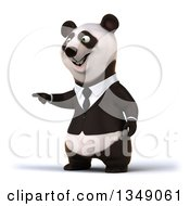Clipart Of A 3d Happy Business Panda Pointing Royalty Free Illustration