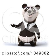 Clipart Of A 3d Happy Business Panda Presenting Royalty Free Illustration