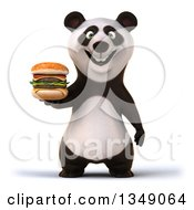 Clipart Of A 3d Happy Panda Holding A Double Cheeseburger Royalty Free Illustration