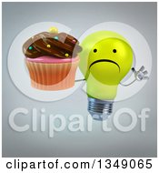 Clipart Of A 3d Unhappy Yellow Light Bulb Character Jumping And Holding A Chocolate Frosted Cupcake Over Gray Royalty Free Illustration