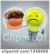 Clipart Of A 3d Unhappy Yellow Light Bulb Character Holding A Chocolate Frosted Cupcake Over Gray Royalty Free Illustration