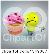 Clipart Of A 3d Unhappy Yellow Light Bulb Character Holding Up A Thumb Down And A Pink Frosted Cupcake Over Gray Royalty Free Illustration
