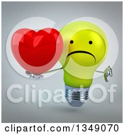 Clipart Of A 3d Unhappy Yellow Light Bulb Character Holding A Love Heart And Giving A Thumb Down Over Gray Royalty Free Illustration
