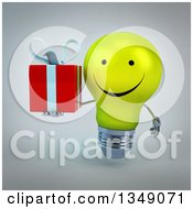 Clipart Of A 3d Happy Yellow Light Bulb Character Holding A Gift Over Gray Royalty Free Illustration