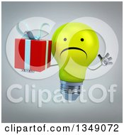 Clipart Of A 3d Unhappy Yellow Light Bulb Character Jumping And Holding A Gift Over Gray Royalty Free Illustration