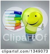 Clipart Of A 3d Happy Yellow Light Bulb Character Holding A Stack Of Books And Giving A Thumb Up Over Gray Royalty Free Illustration