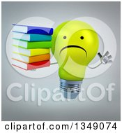 Clipart Of A 3d Unhappy Yellow Light Bulb Character Holding A Stack Of Books And Jumping Over Gray Royalty Free Illustration
