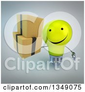Clipart Of A 3d Happy Yellow Light Bulb Character Holding Up Boxes Over Gray Royalty Free Illustration