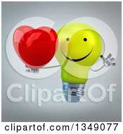 Clipart Of A 3d Happy Yellow Light Bulb Character Holding A Love Heart And Jumping Over Gray Royalty Free Illustration