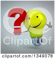 Clipart Of A 3d Happy Yellow Light Bulb Character Holding Up A Finger And A Question Mark Over Gray Royalty Free Illustration