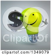 Clipart Of A 3d Happy Yellow Light Bulb Character Holding Up A Finger And A Dollar Currency Symbol Over Gray Royalty Free Illustration