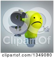 Clipart Of A 3d Unhappy Yellow Light Bulb Character Facing Right Jumping And Holding A Dollar Currency Symbol Over Gray Royalty Free Illustration