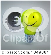 Clipart Of A 3d Happy Yellow Light Bulb Character Holding A Euro Currency Symbol Over Gray Royalty Free Illustration