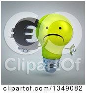 Clipart Of A 3d Unhappy Yellow Light Bulb Character Giving A Thumb Down And Holding A Euro Currency Symbol Over Gray Royalty Free Illustration