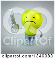 Clipart Of A 3d Unhappy Yellow Light Bulb Character Holding A Key Over Gray Royalty Free Illustration