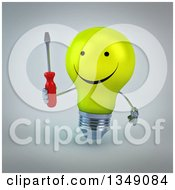 Clipart Of A 3d Happy Yellow Light Bulb Character Holding A Screwdriver Over Gray Royalty Free Illustration