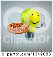 Clipart Of A 3d Happy Yellow Light Bulb Character Facing Right Jumping And Holding A Pizza Over Gray Royalty Free Illustration