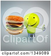 Clipart Of A 3d Happy Yellow Light Bulb Character Holding Up A Thumb And A Double Cheeseburger Over Gray Royalty Free Illustration